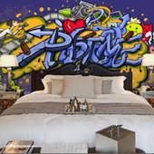 Bedroom graffiti design icon