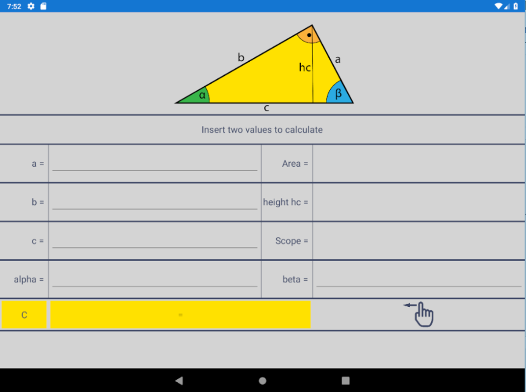 Right Angle Triangle Calculator for Android - APK Download