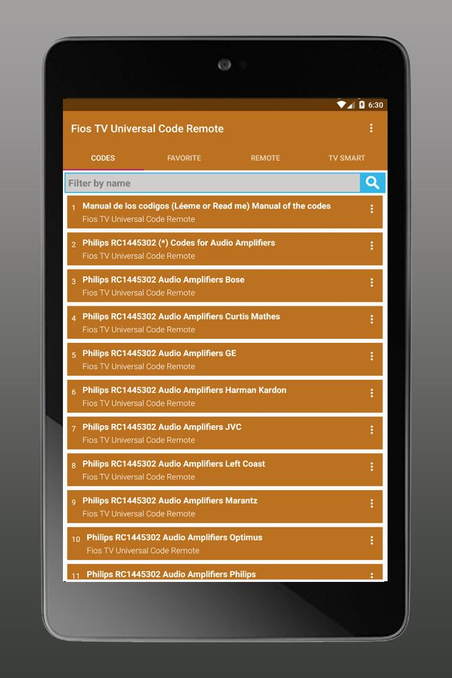 Universal codes for FiosTV (Smart Control) for Android - APK