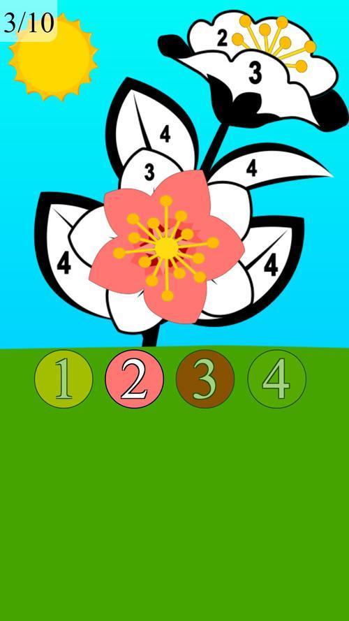Jeu De Coloriage De Fleur Avec Des Chiffres Pour Android Telechargez L Apk