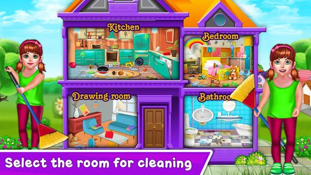 Baby Girl Cleaning Home poster