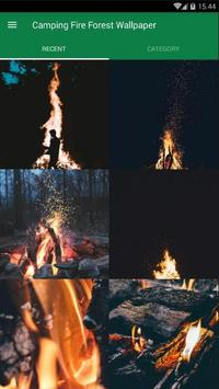 Camping Fire Forest Wallpaper poster