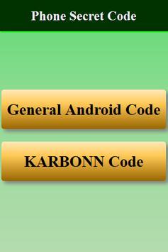 Mobiles Secret Codes of KARBONN screenshot 1