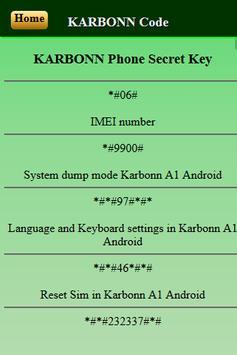 Mobiles Secret Codes of KARBONN screenshot 2