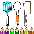 Kitchen Cooking Coloring Pages Drawing Book