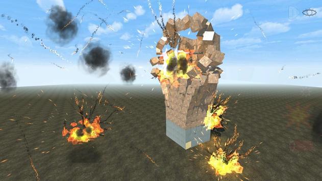 Block destruction simulator: cube rocket explosion poster