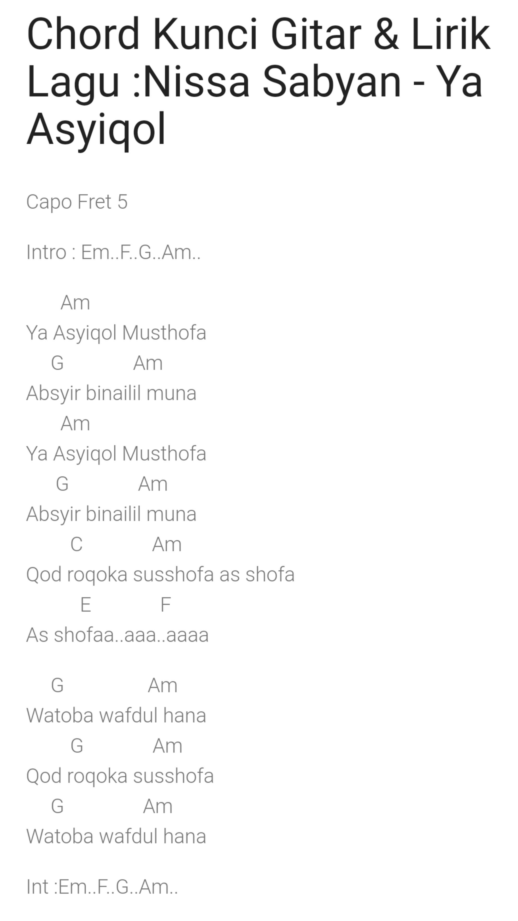 Chord Lagu Nissa Sabyan Gambus For Android Apk Download