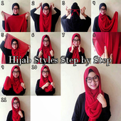 Hijab styles step by step icon