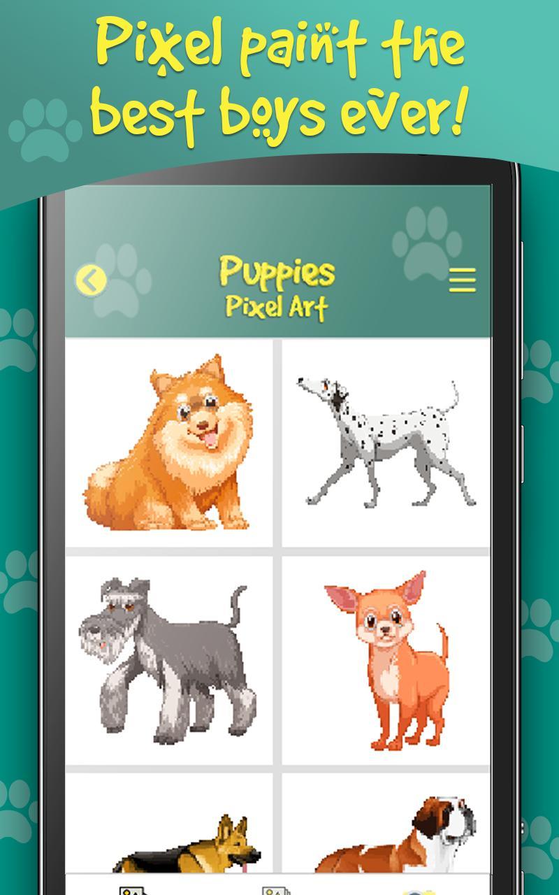 Chiens Pixel Art Chiot Couleur Par Numéro Pour Android