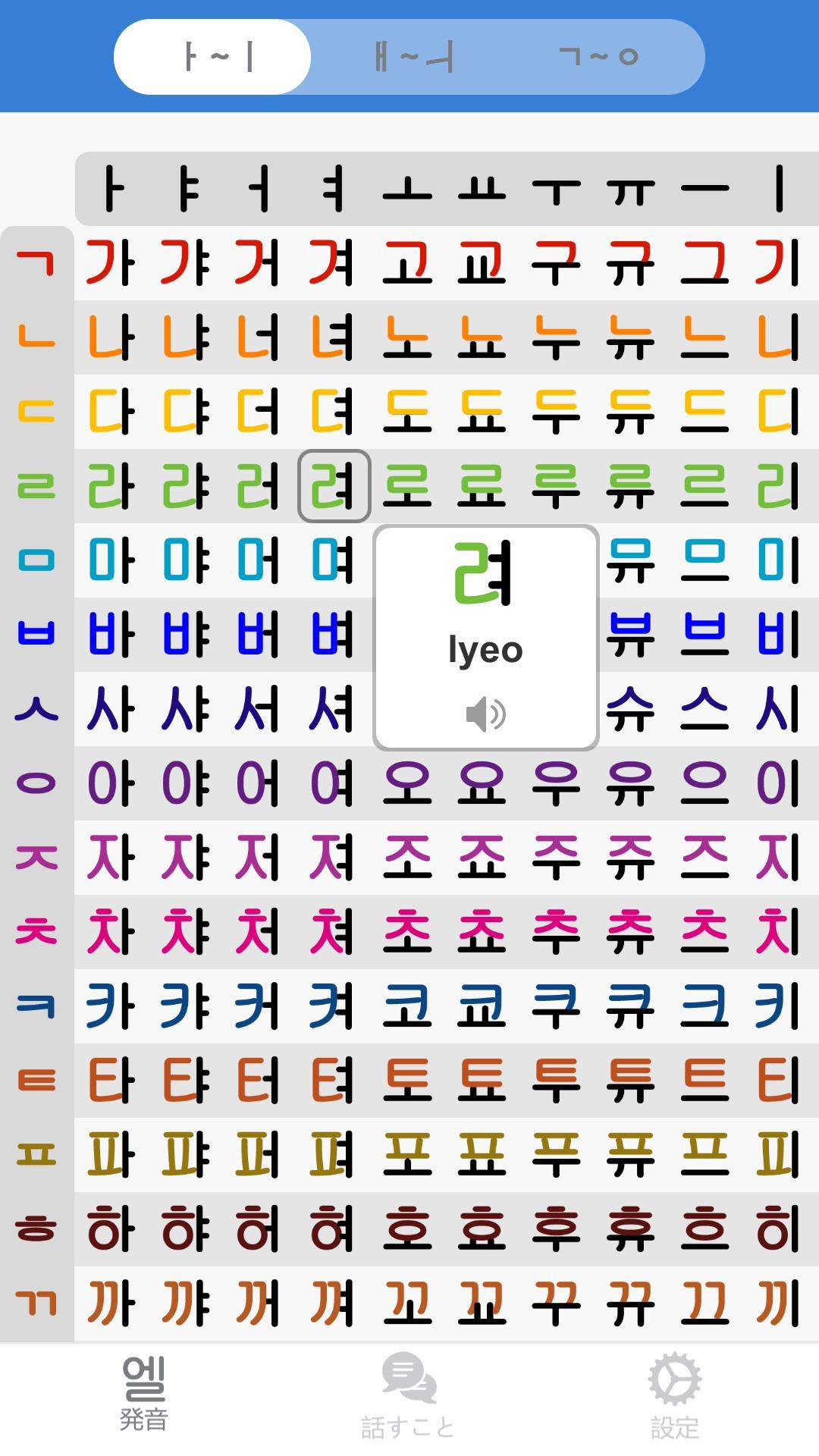 韓国 語 ハングル 表