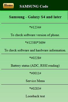 Mobiles Secret Codes of SAMSUNG screenshot 2