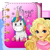 Rainbow Unicorn Secret Diary with Lock icon