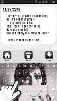 Sad and Lonely Emo Diary with Lock screenshot 1