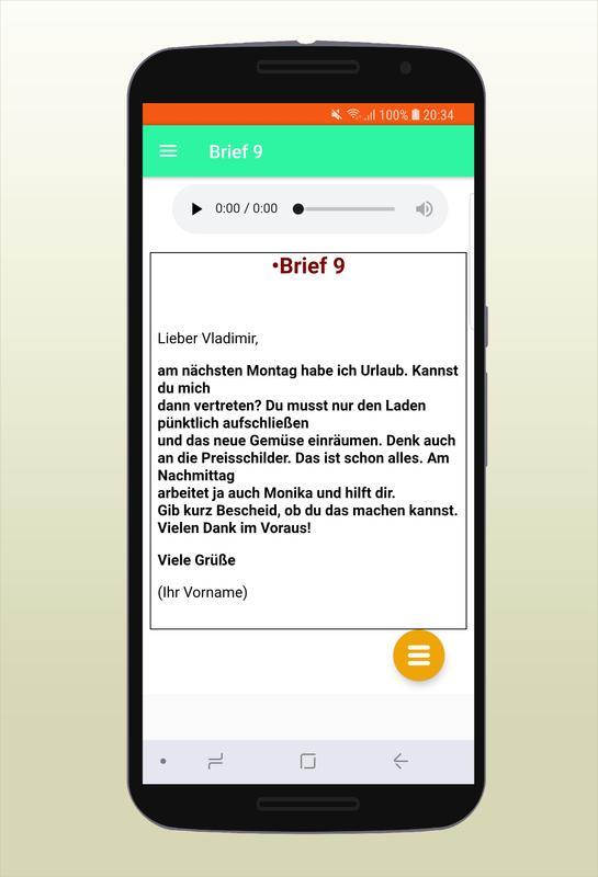 Brief Schreiben Zur Prüfung Deutsch A2 Pour Android Téléchargez Lapk