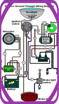 simple motorcycle electrical wiring diagram poster