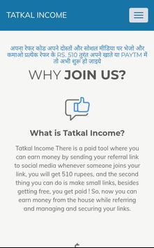 Tatkal Income Url Shortener Earn Money pour Android - Téléchargez l'APK