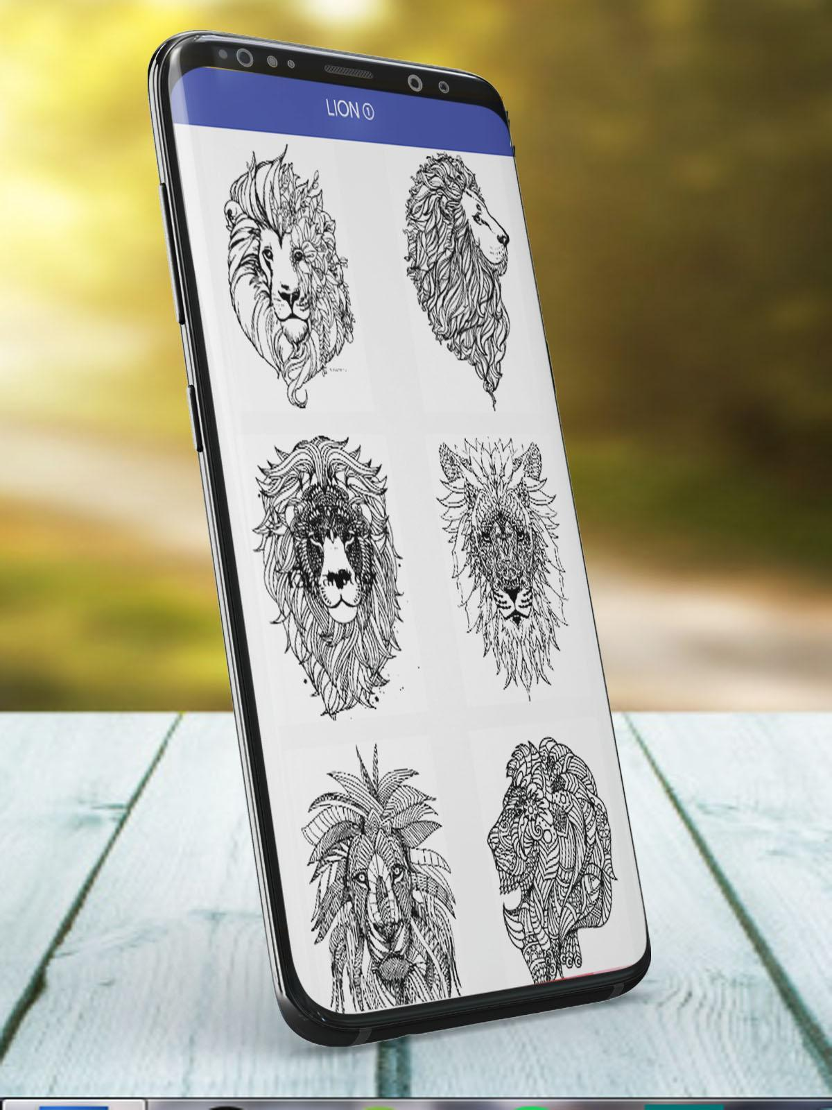 Wolf And Lion Libro De Colorear Para Adultos For Android