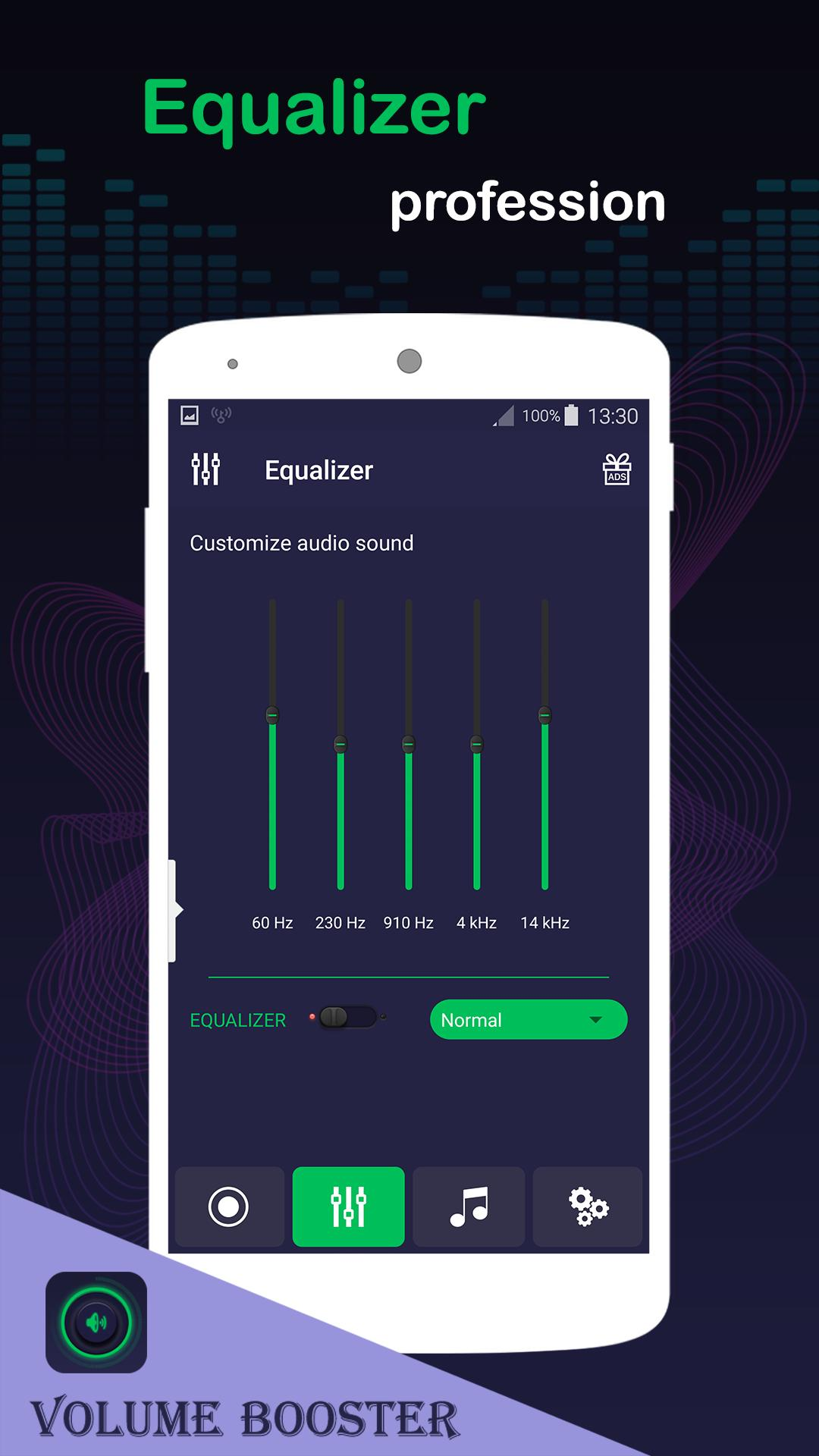 Volume booster, Mp3 player with equalizer for Android - APK