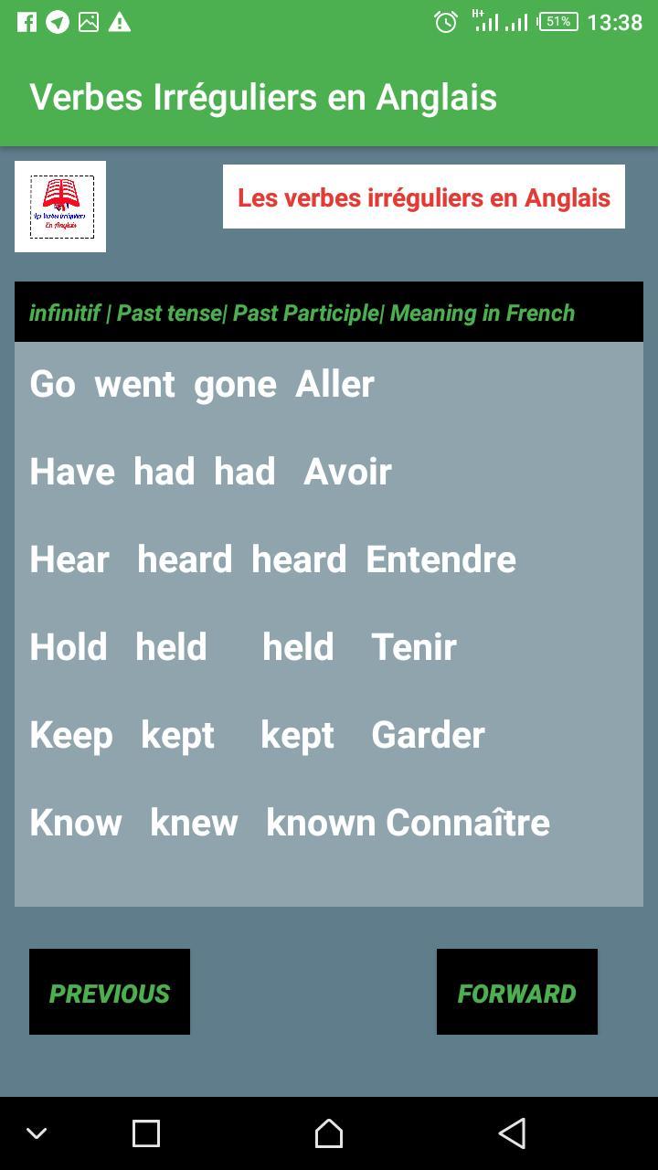 Les Verbes Irreguliers En Anglais Pour Android Telechargez L Apk