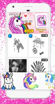 Coloring Fun Unicorn Color by Number 3D Pixel Art poster