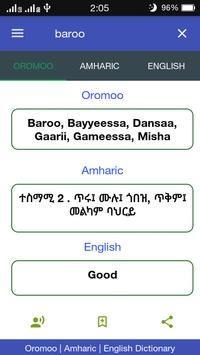 Poster Oromoo ⇄ Amharic ⇄ English Dictionary Offline