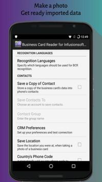 Business Card Reader for Infusionsoft CRM screenshot 1