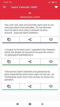joyeuse saint valentin 2021 meilleurs SMS screenshot 2