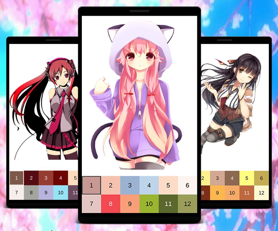 Pixel Art Manga Girls Color By Number For Android Apk