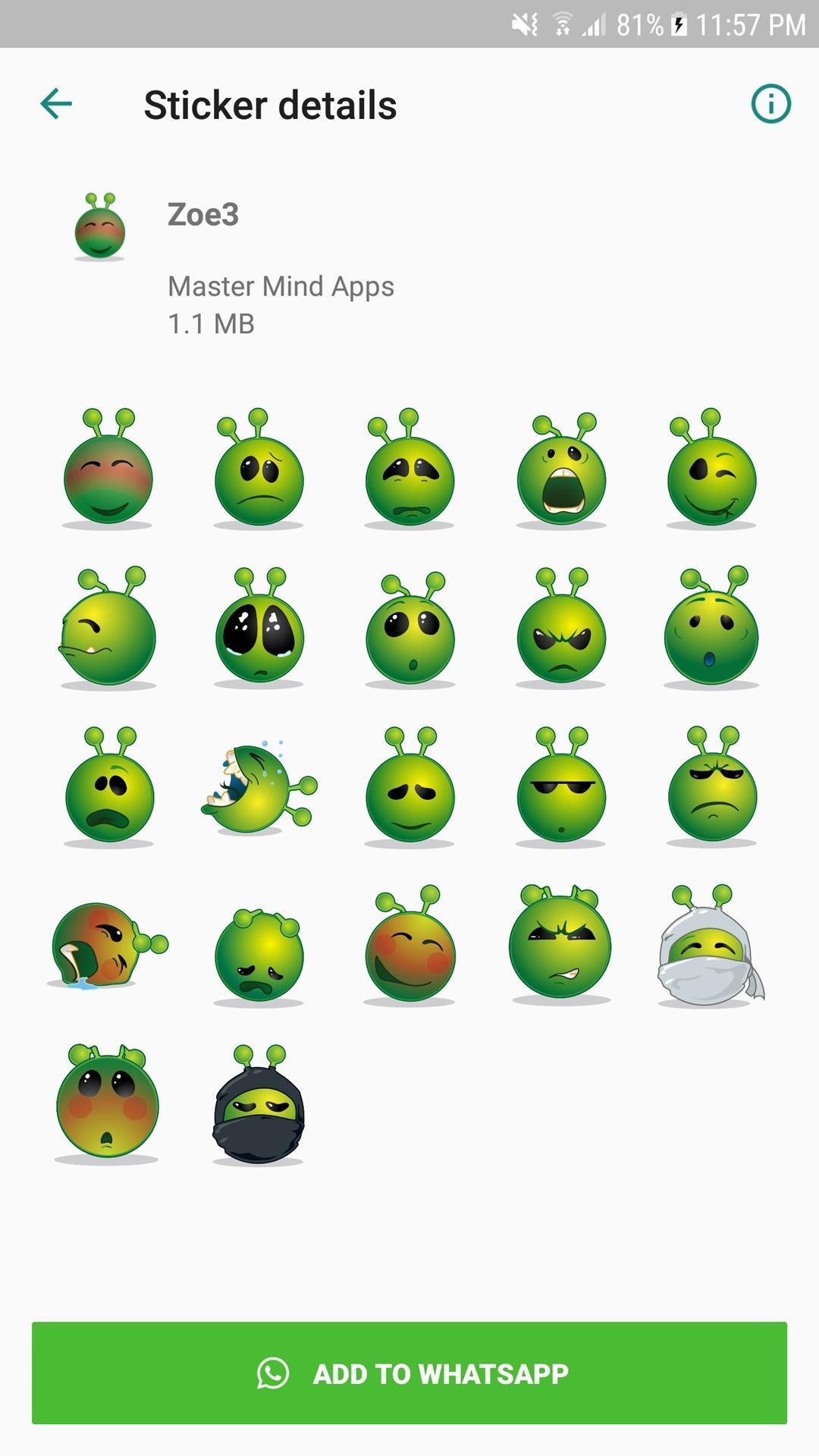 Cute Zoe WAStickerApps Alien Emoji (WAstickerapps) for