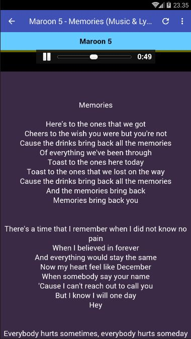 Memories Maroon 5 Music Lyrics For Android Apk Download