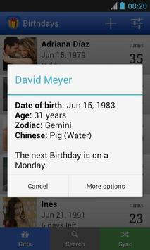 Birthdays screenshot 1