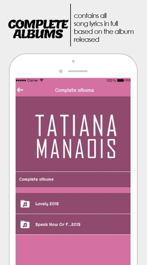 Tatiana Manaois: all lyric by album  for Android - APK Download