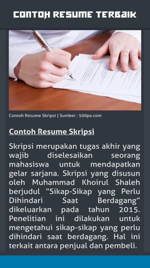 Contoh Resume Terbaik For Android Apk Download