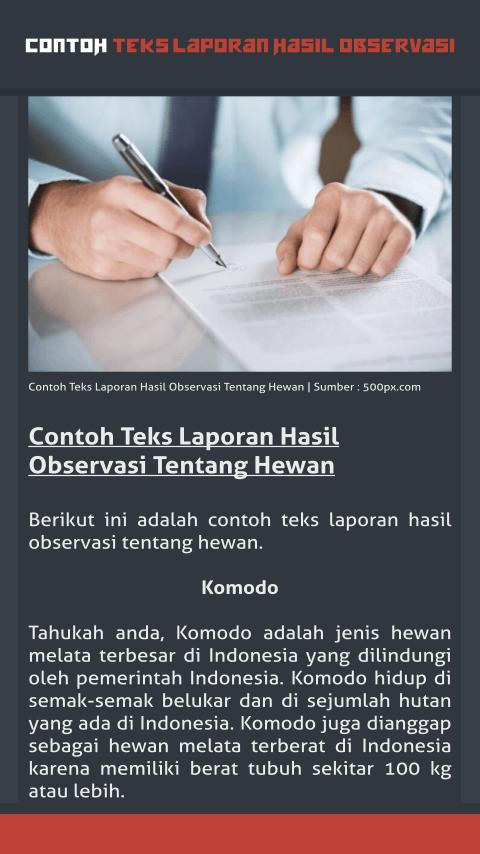 Contoh Teks Laporan Hasil Observasi For Android Apk Download