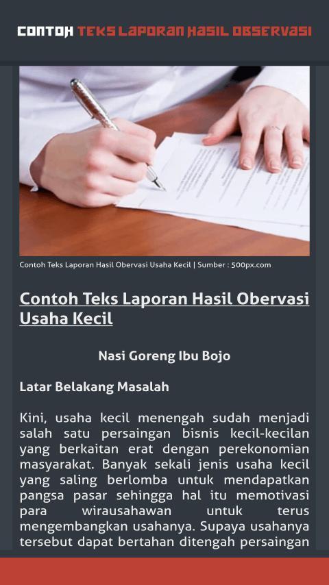 Contoh Teks Laporan Hasil Observasi For Android Apk Download