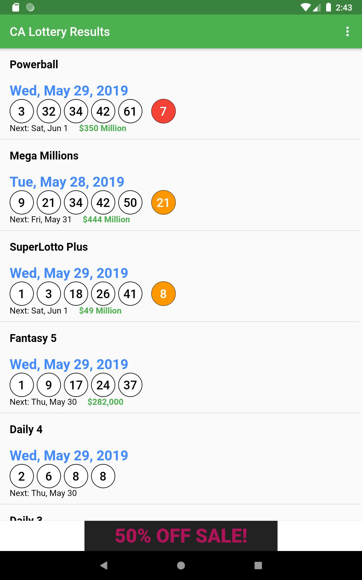CA Lottery Results for Android - APK Download