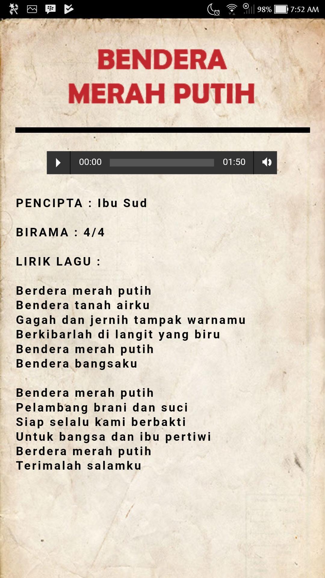 Lagu Wajib Nasional Indonesia (17 Lagu) for Android - APK