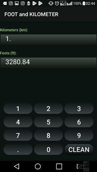 Kilometer and Foot (km & ft) Convertor screenshot 1
