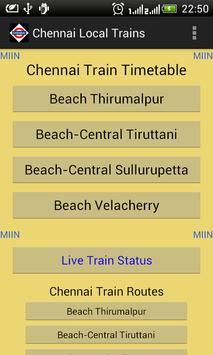 Chennai Local Train Timetable Affiche