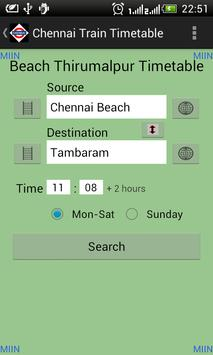 Chennai Local Train Timetable capture d'écran 1