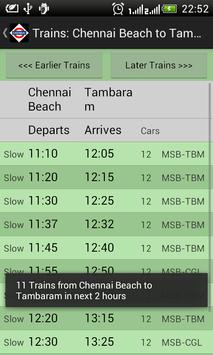 Chennai Local Train Timetable capture d'écran 2