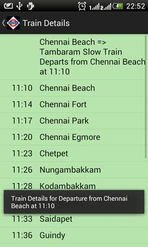 Chennai Local Train Timetable capture d'écran 3