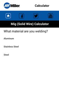 MillerWeld Setting Calculator screenshot 2