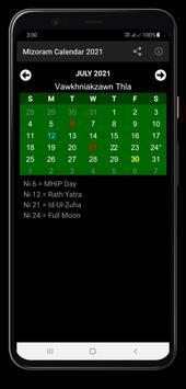 Mizoram Calendar 2021 Ekran Görüntüsü 1