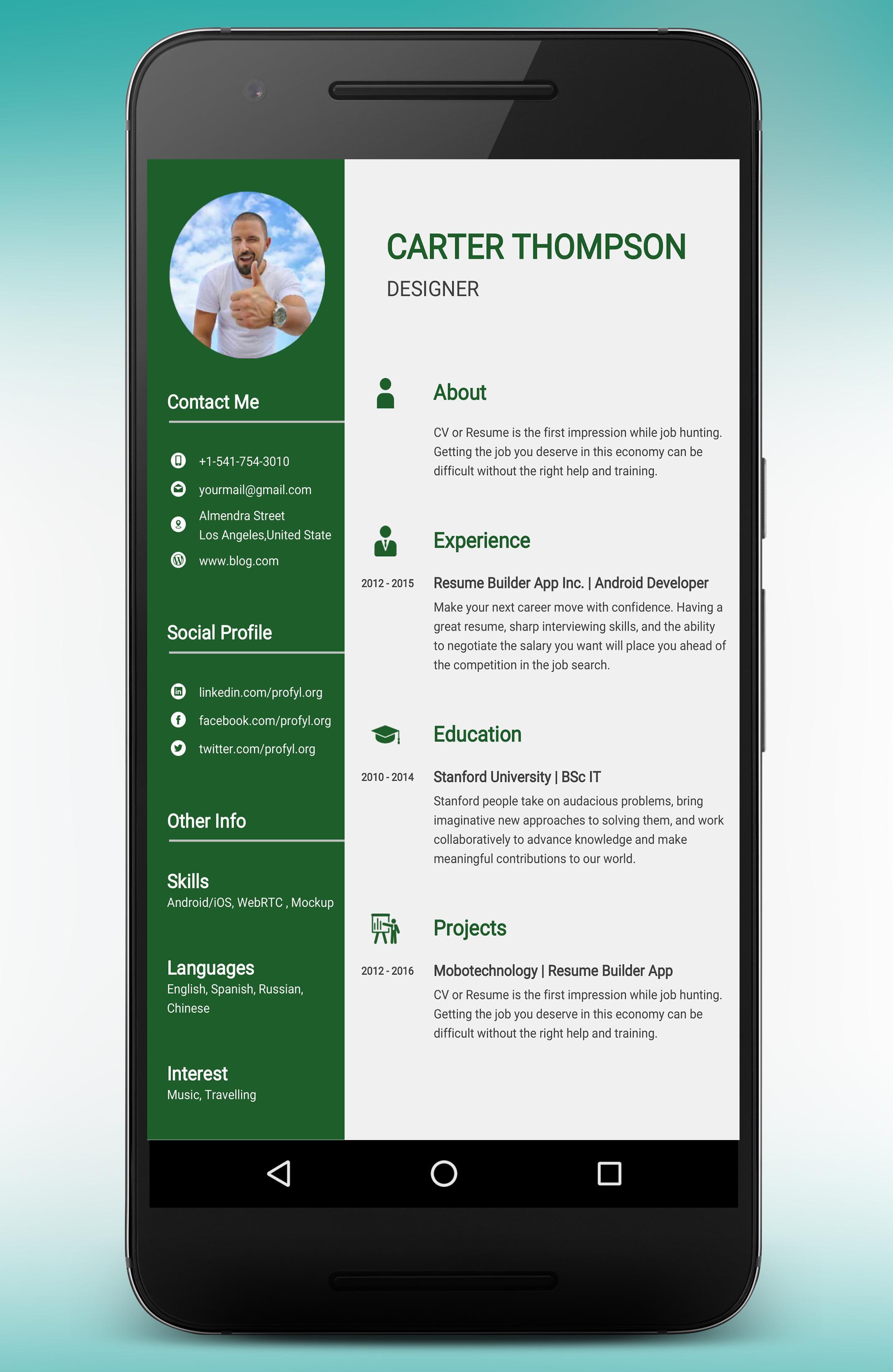 CV Maker Resume Builder PDF Template Format Editor for