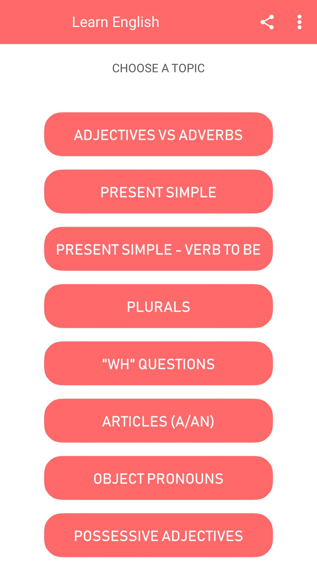 English Grammar Exercises With Answers for Android - APK