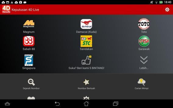 Keputusan 4D Live syot layar 8
