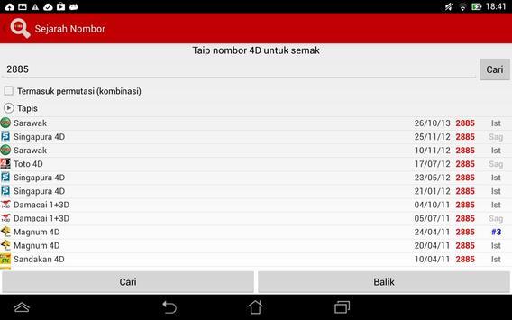 Keputusan 4D Live syot layar 11