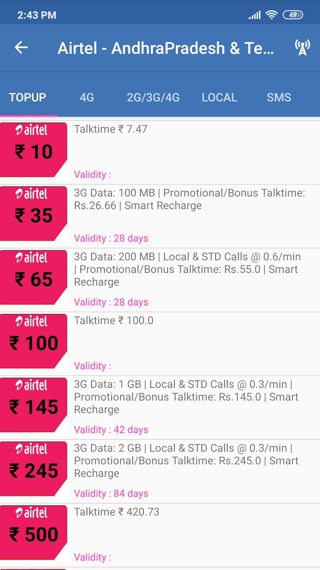 4G Recharge Plan : All in One Mobile Recharge for Android