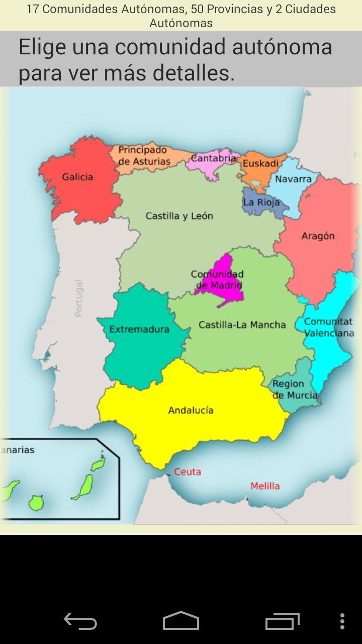 Mapa De Provincias Españolas.Mapa De Provincias De Espana Fur Android Apk Herunterladen